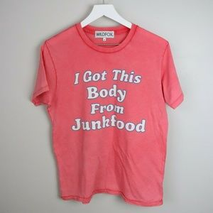 WILDFOX  'I Got This Body From Junkfood' T-Shirt
